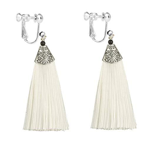 Bohemian Tassel Clip on Earring Long Charm Thread Fringe Jewelry Dangle Vintage for Women White