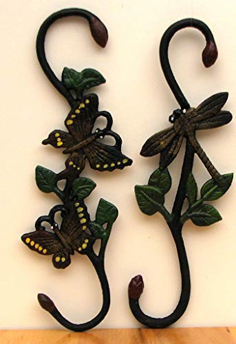 Wall Plant Hanger Butterfly Dragonfly Figure Art Statues Hanging Macrame Metal Planters Holder Outdoor Indoor Hook Decor