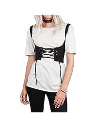Romacci Women Lace Up Waistband Corset Belt Tank Tie Up Eyelet High Waist Belt