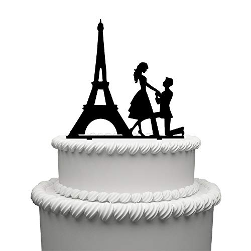 Mr and Mrs Cake Topper Acrylic Wedding Cake Topper Funny Bride and Groom with Paris'Tower Cake Topper]()