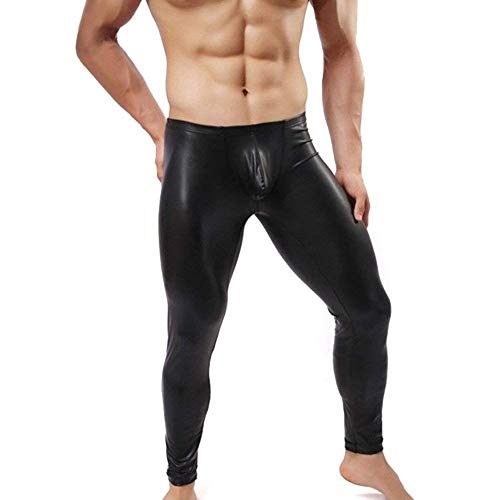 Flacos Ocasionales Bobolily De Polainas Negro Larga Primavera Cintura Pantalones Color Cuero Los La Imitación Sólido Del Hombres Otoño Media T1wgqTa
