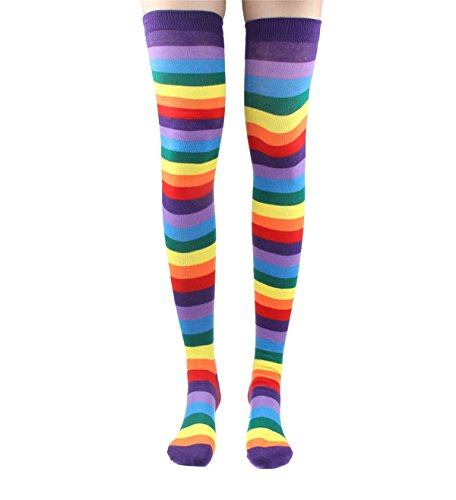 Raylarnia Women's Extra Long Opaque Striped Over Knee High Stockings Socks (Adjustable, Rainbow Stripe) (Striped Rainbow Socks Knee)