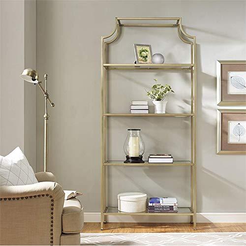 Pemberly Row 4 Shelf Narrow Glass Bookshelf in Antique Gold