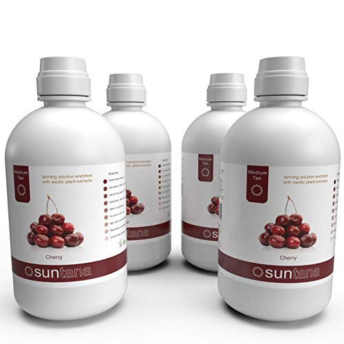 Suntana Spray Tan Cherry Fragranced Sunless Spray Tanning Solution, Medium Tan, 10% DHA - 128oz (4 Litre)