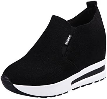 96deb5a877b SUKEQ Womens Fashion Frosted Leather Autumn Wedge Platform Heel Shoes  Slip-on Sneakers Casual Travel