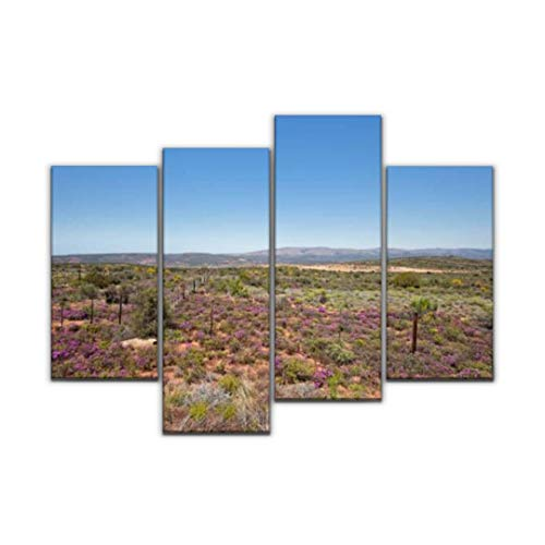 Sudoiseau Wall Art Painting Landscape in South Africa Between oudtshoorn and Cape Town on The Pictures Canvas Prints Poster Oil Paintings Landscape Paint Modern Home Decor Artwork Gift, 4 Panels (Cape Town Africa South Garden Furniture)