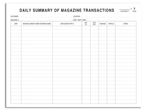 amazon com bookfactory explosives inventory log book daily summary