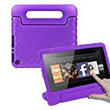 CAM-ULATA Compatible with Amazon Fire 7th 5th Generation Case for Kids 2017 2015 Kids Proof Shock Proof with Handle Kindle 7 inch Cover Purple