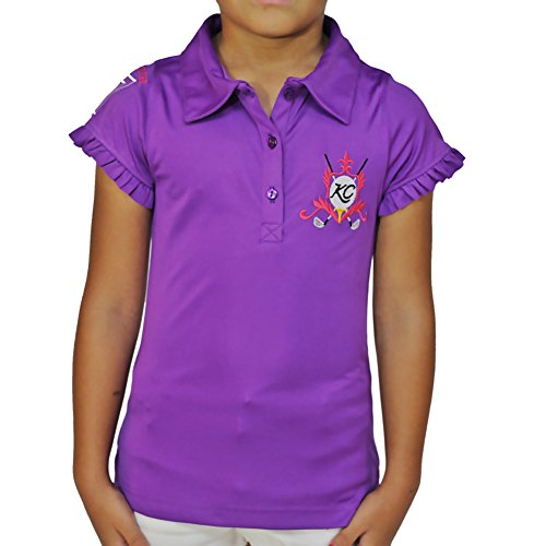 Kissi Couture Little Girls Golf Polo Shirt with Princess Of Golf Bling XS Purple by Kissi Couture
