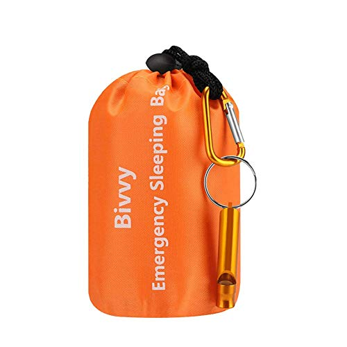 - AMOYON Emergency Bivy Sack, Survival Sleeping Bag Emergency Blanket Lightweight and Compact Survival Gear for Outdoor,Hiking,Camping with Portable Drawstring Bag + Whistle + Carabiner(orange-one pack)
