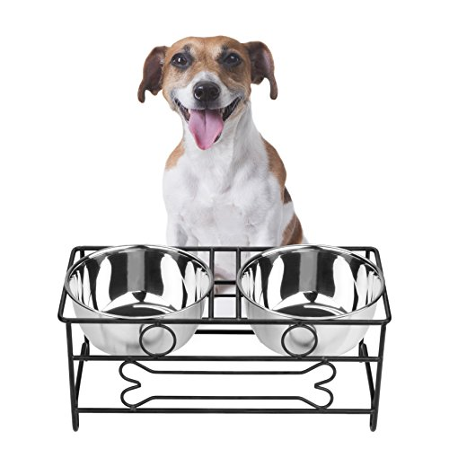 VIVIKO Bone Style Pet Feeder for Dog Cat, Stainless Steel Food and Water Bowls with Iron Stand (Medium)