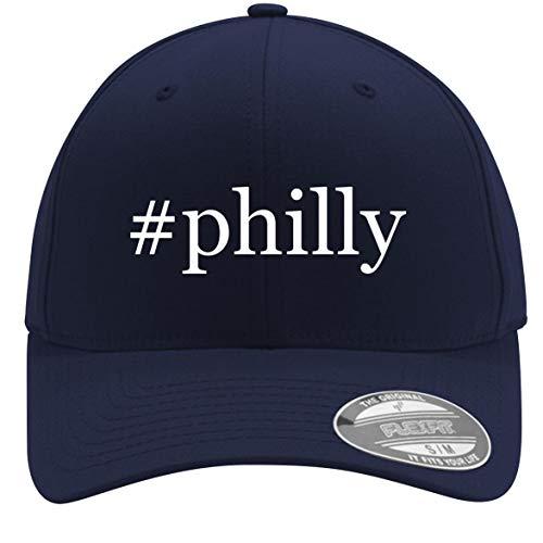 #Philly - Adult Men's Hashtag Flexfit Baseball Hat Cap, Dark Navy, Small/Medium ()