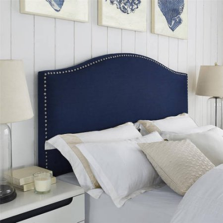 Better Homes and Gardens Grayson Linen Upholstered Headboard with Nailheads, Full/Queen - NAVY (And Garden Headboard Homes Better)