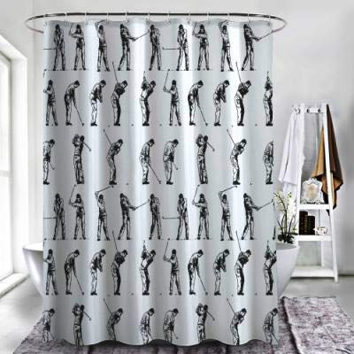 ZXAWT Brand Waterproof Bathroom Shower Curtains Detailed Action Decomposition of Golf(48
