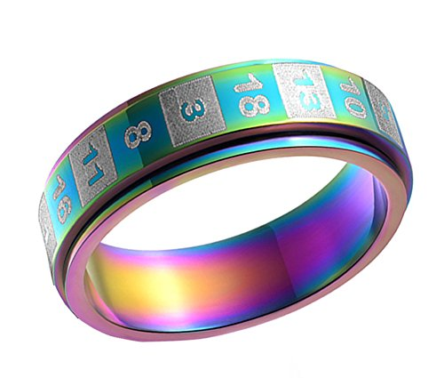 PAMTIER Unisex Stainless Steel 6MM Dice Number Rotatable Ring Rainbow Size 7
