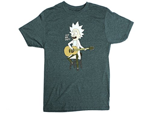 Ripple Junction Rick and Morty Let Me Out Tiny Rick Adult T-Shirt 3XL Black Heather Cyan (Tee Adult Swim Shirts)