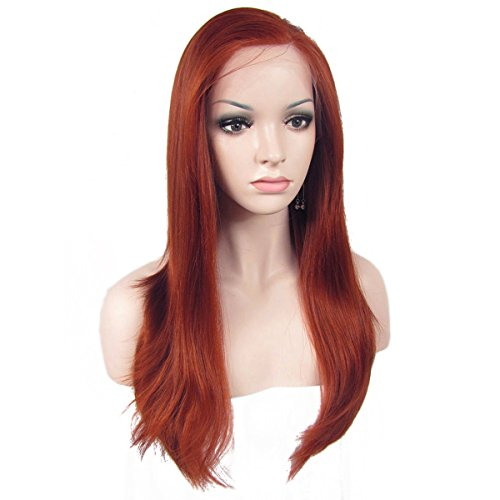 Ebingoo Fashion Copper Red Lace Front Wigs for Women Natural Long Wavy Synthetic Soft Wig Heat Resistant Fiber ()