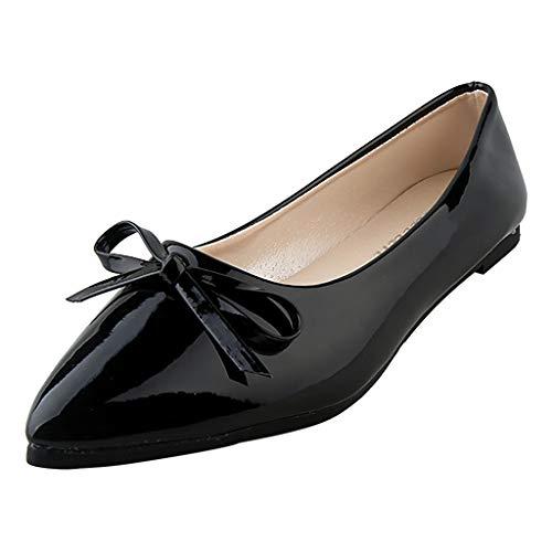 (LYN Star✨ Women's Tali Bow Ballet Flat Comfortable Bow Point Toe Flat Pumps Slip On Shoes Classic Mugara Ballet-Flat Black)