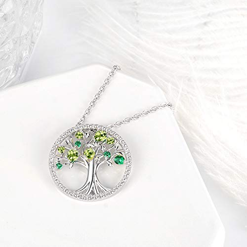 August Birthstone LC Green Peridot Necklace Tree of Life Jewelry Birthday Gifts for Women Mom Wife Teen Girls Sterling Silver Pendant Necklace for Women Love Family