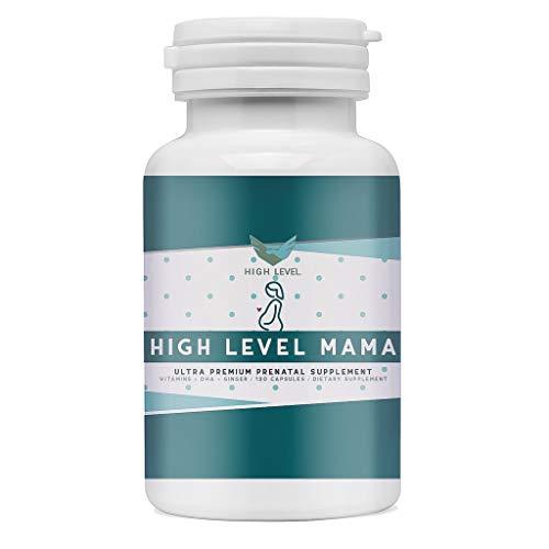High Level Mama - Ultra Premium Prenatal Supplement | DHA, Ginger, Vitamins | Vegetarian Omega-3 | Brain, Vision + Immune System Support | Mood Boost | 120 Veggie Capsules