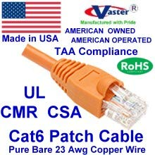 UTP Cat.6 Ethernet Patch Cable Made in USA Super E Cable SKU-81974 Orange 120 FT UL CMR Pure Copper 23 AWG
