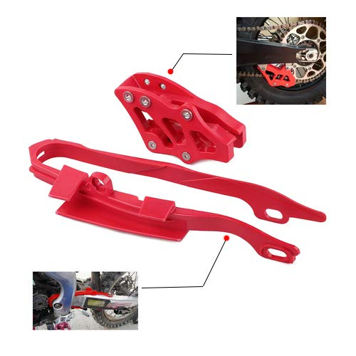 (Chain Slider Chain Guide Kit Motorcycle Guard Protector For Honda CR125R CR250R CRF450X 2005-2007 CRF250R CRF450R 2005-2006 CRF250X 2006 Red )