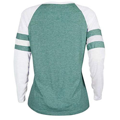 Blouse Sweat Hauts Vert3 Fashion Chandail Tees Pulls et Automne Rond Manches Shirts Femmes Patchwork Imprime T Jumpers Shirts Col Longues Printemps Tops x1HTwqCT