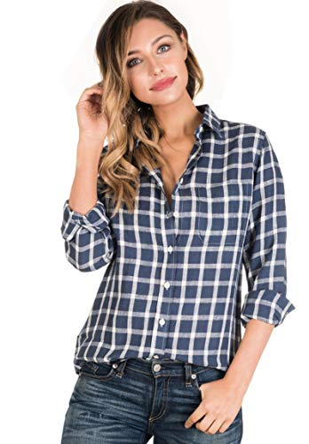 (CAMIXA Women Plaid Shirt Linen Button Down Buffalo Check Long Sleeve Ladies Top L Navy/White )
