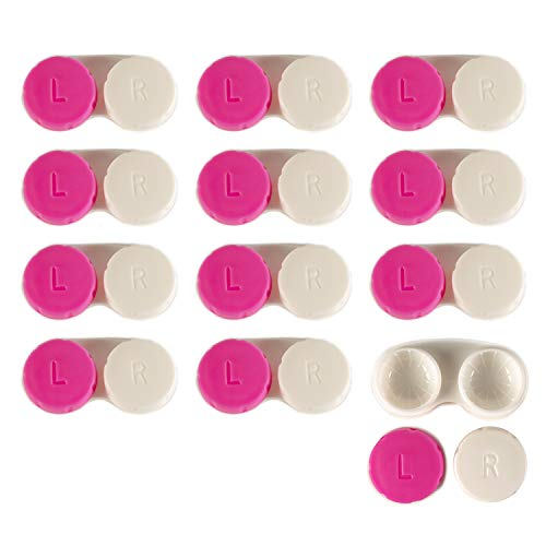 Contact Lens Case 12 Pack - Pink Travel Safe Holder
