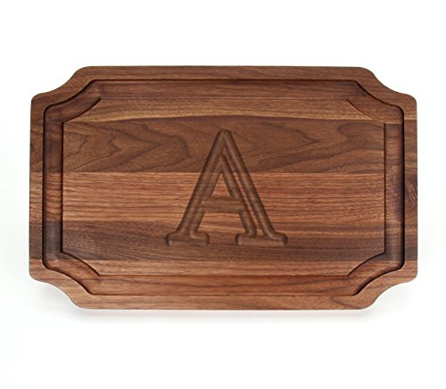 BigWood Boards W320-A Carving Board, Carving Board with Juice Well, Large Personalized Cutting Board with Juice Groove, Walnut Serving Platter, ''A'' by BigWood Boards