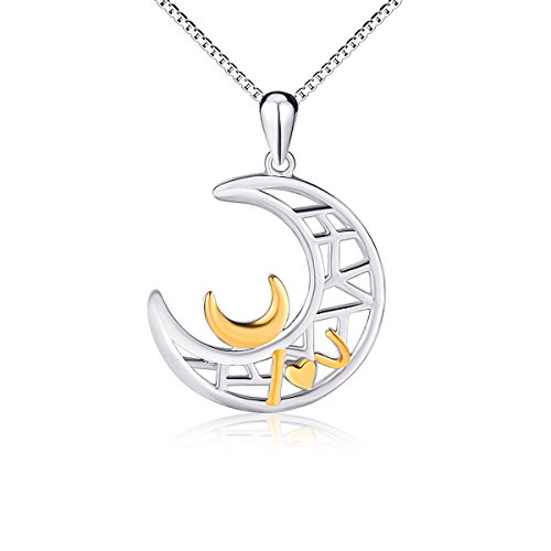 SILVER MOUNTAIN I Love You Sterling Silver Jewelry Women Couples Double Moon Pendant Necklace, (Double Heart Pendant Jewelry)