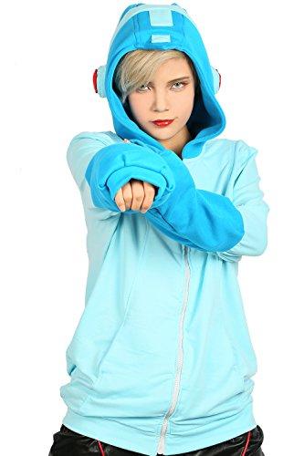 [XCOSER Mega Man Sweatshirt Hoodie Jacket Halloween Costume Zip Up XL] (Adult Megaman Costumes)