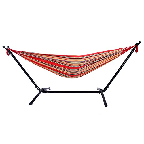 Z ZTDM Portable Double Hammocks With Space Saving Steel Stand 9FT Includes  Outdoor Patio Hammocks With