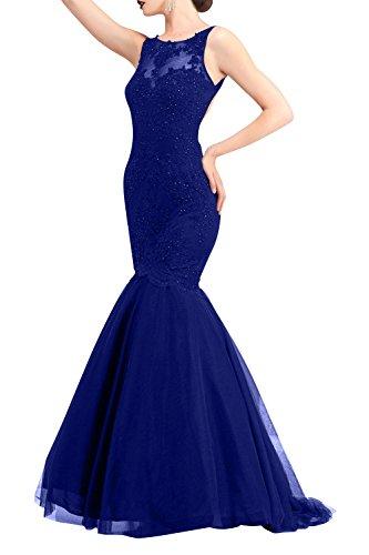 Spitze Royal Dunkel La Brau Tanzenkleider Festlichkleider Etuikleider Promkleider mia Partykleider Blau Abendkleider Langes Meerjungfrau Brautmutterkleider 4SCATw