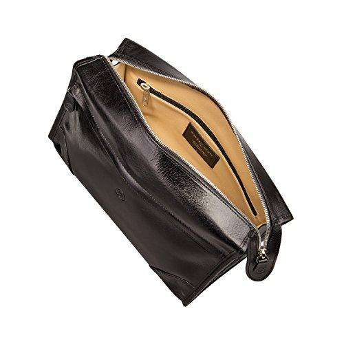 Maxwell Scott® Luxury Italian Leather Men's Toiletry Wash Bag (Tanta), Black