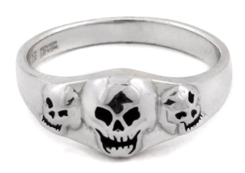 Peter Stone Triple Skulls Sterling Silver Gothic Ring - size 12