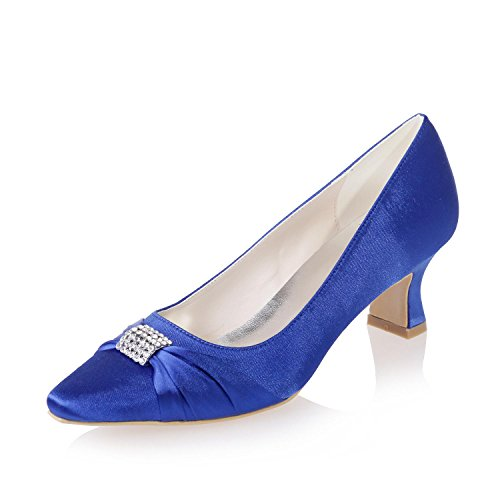 L@YC Female Pointed Wedding Shoes Office &/Stretch Satin Wedding/Evening Professional Clothing Party/0723-03 Blue P7OkbrHYxq