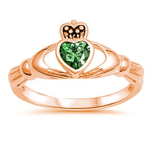 Emerald Set Claddagh Ring - 7