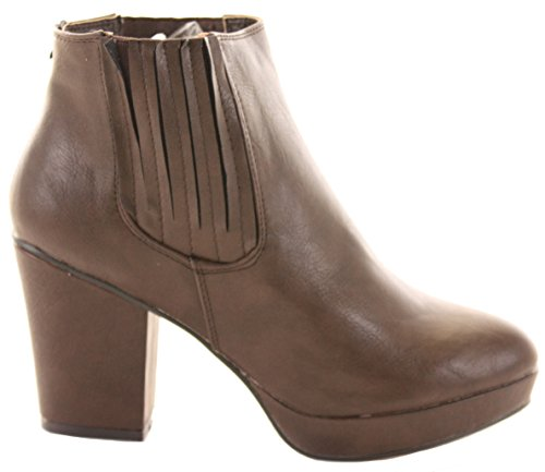 WOMENS Brown HIGH LADIES 15 PLATFORM 8 3 HEELED CHELSEA ANKLE SIZE Style WINTER HEEL BOOTIES BOOTS BLOCK MID pwTtpxSq4r