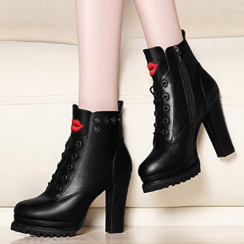 de Botas Martin Alto Botas Invierno black En otoño e de Tacones Taco AJUNR Ingles Zapatos Botas Botas Cortas Mujer Transpirable de PYSqTT