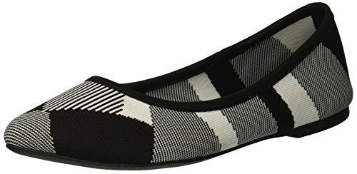Ballet Skimmers - Skechers Women's Cleo-Bam-Engineered Knit Skimmer Ballet Flat, Black/White, 7 M US