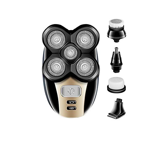 Electric shaver - Multifunction 5 In 1 Electric Shaver 5 Blade Heads Razor Nose Ear Hair Beard Trimmer Washable bald cutting machine for Men