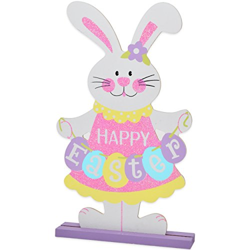 4 Pack Happy Easter Table Topper Decorations Spring Bunny Centerpiece Sculptures Statues Figurines for Home Outdoor Garden Yard Lawn and Patio Party Favors by Gift Boutique