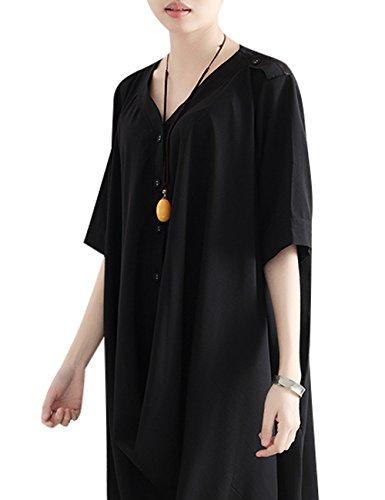 Youlee En Mujeres Primavera Verano Irregular V Vestir Negro Cuello z1Oxgwz
