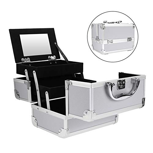 Mini Makeup Train Case,Portable Makeup Organizer, Aluminum Jewelry Cosmetic Box 2 Trays, Mirror and Key Lock SILVER