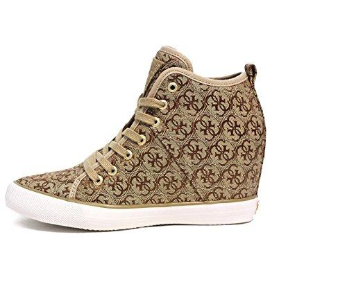 Guess Sneaker Mujer Jillie cuña Aumentar Cm 7 Lona Beige Beige claro BROWN