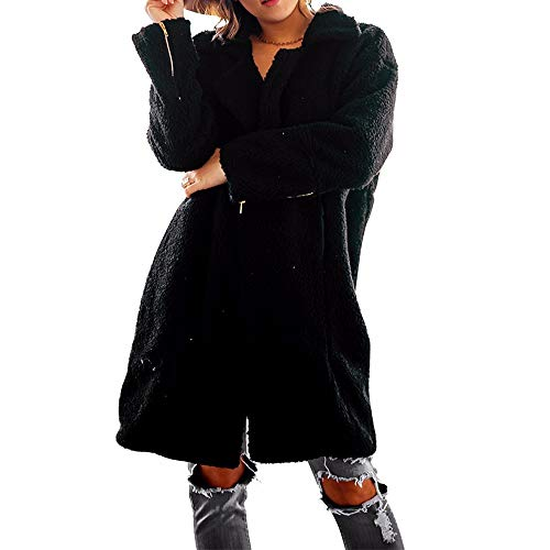 XQXCL Women Coat, Outwear Womens Winter Jacket Button Cotton Long Sleeves Overcoat Lightweight Woolen Coat with Pocket Black (Charex Wool Coat)