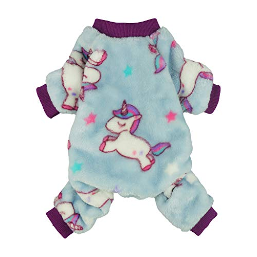 Fitwarm Unicorn Pet Clothes for Dog Pajamas Coat Cat PJS Jumpsuit Soft Velvet Purple Small