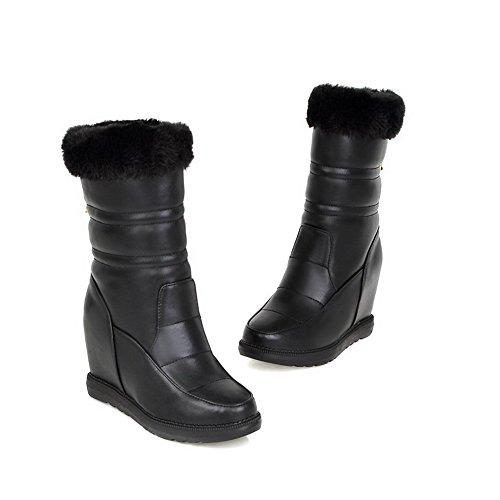 AllhqFashion Womens Round Closed Toe PU Pull-on High-heels Mid-top Boots Black 7MEPkiT