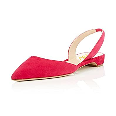 FSJ Women Comfy Slingback Ankle Strap Low Heels Shoes Pointed Toe D'Orsay Pumps Size 4 Red